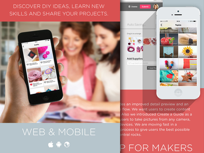Guidecentral Design Board women red blue apps makers diy crafts arts web android case study