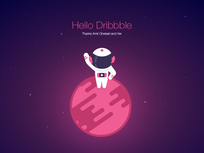 Hello Dribbble first shot flat vector planet space astronaut hello debut