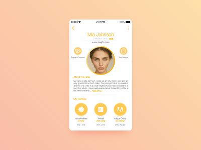 Portfolio UI profile resume flat ios app ui portfolio