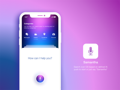 Intelligent Personal Assistant personal assistant recording voice card gradient siri search assistant