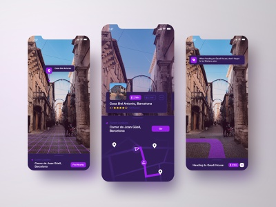 AR Travel App Concept pin location iphone tourism vr direction ui modal navigation map app travel augmented reality ar