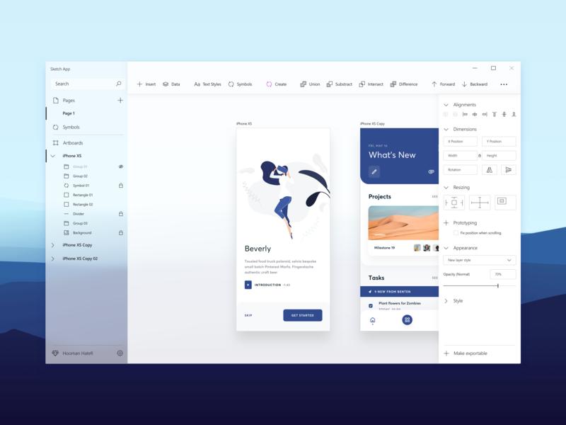 Sketch App concept for Windows - Fluent Design