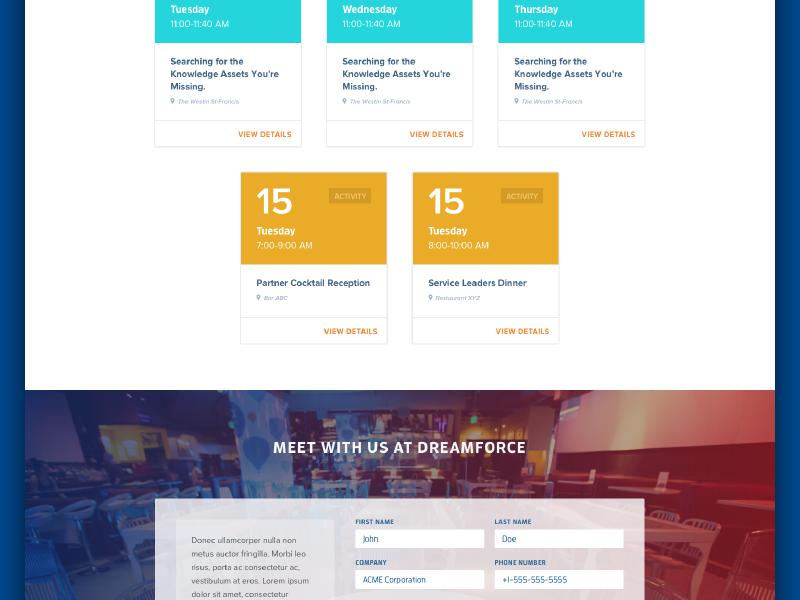 Coveo at Dreamforce form schedule microsite dreamforce website enterprise gradient coveo search