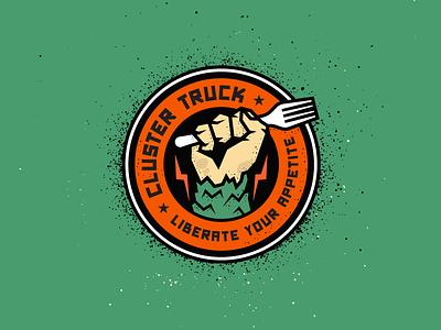 Revolution seal fist grunge propaganda badge power guerrilla revolution hand monster food