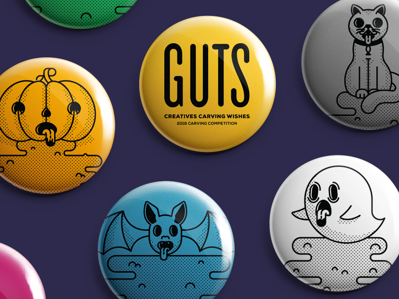 Spooky Halloween Buttons cat bat ghost pumpkin pin puke vomit halloween aiga button guts