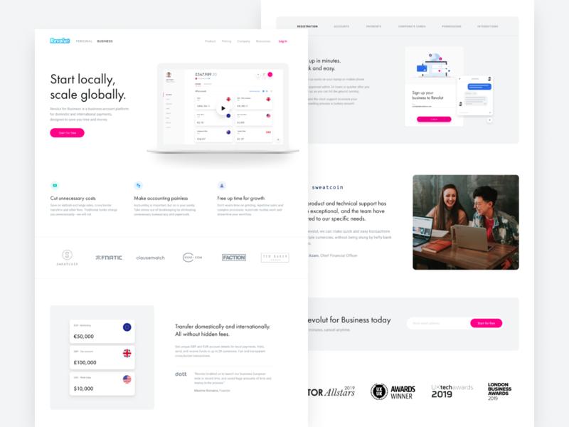 Revolut for Business Homepage landing desktop business banking ui