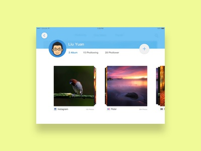 Profile UI cover album photo profile ipad ios ui