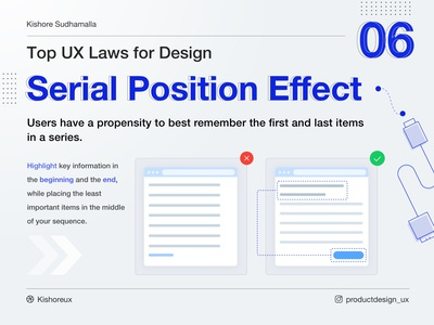 ⚡️Serial Position Effect - Top UX Laws for Design - 06 ⚡️ learndesign uidesign productdesign lawsofux uxlaws learnux ux design ux