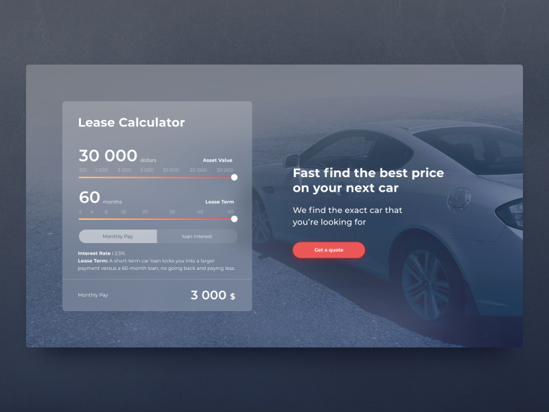 Car Lease Calculator >> Lease Calculator By Mariya Fish On Dribbble