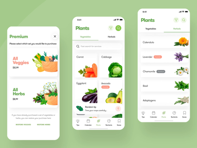 👨‍🌾 Design for cool iOS app for Germany gardeners & farmers austria germany 3d family carrot tips farmers market veggie premium search shedule garden filters loading animation herbs avacado fruits