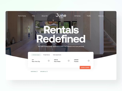 🍃 June Main Page redesign | Brand Update rommates apartments homes move-in duration main clasters map rentals new york location filters cards search catalog