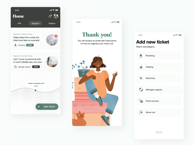 🎒 Support Move-out ticket flow application illustration android ios app lunar green living room heating realestate moving notification roommate co-living bags living