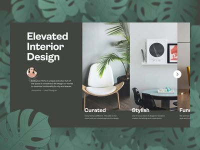 🪑  Elevated Interior Design Slider | June Homes quote title aftereffects realestate homes ikea furniture fern leaves plants lunar stylish curated interior design interior slider animation