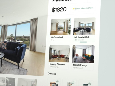 🙌 Additional Items & Styles For Room Booking | June Homes 3d animation move-in calculator configurator apartment rooms cinema4d gallery speakers rent items catalog realestate app 3d ux cards animation aftereffects ui