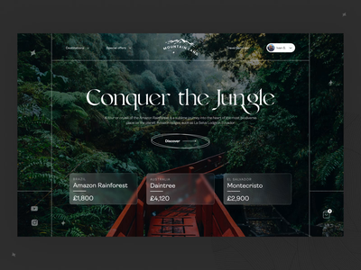 🎒Conquer The Jungle   Travel Website Free Template cards effects videoback backpack motion template free webflow scroll brazil nature forest tree jungle glass agancy travel ui animation