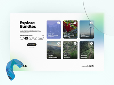 🌱 Lune | Climate change-related service future atmosphere bundles widget pins asia forest selection camera animation octane aftereffects gradient glass water nature climatchange climat co2 3d