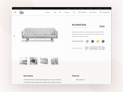 Pro Design House furniture store adaptive website web ecommerce promotion features typography effects ux gallery favorite signup blog framer miami furniture sofa catalog product store ui animation