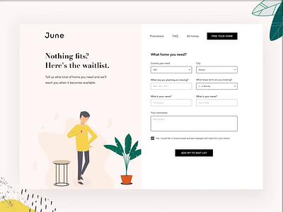 June Homes   Wait List green time plant webdesign form design fun waiting website illustration humans waitlist ae principle ui web form