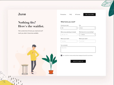 June Homes | Wait List green time plant webdesign form design fun waiting website illustration humans waitlist ae principle ui web form