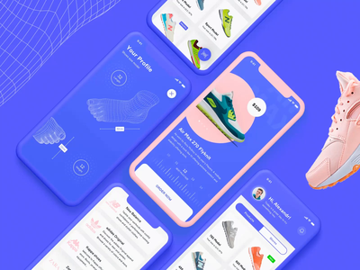 3D Foot scan iOS app balance new york pink graphic snickers shoes nike scanning scanner foot grid 3d scan store ux ui animation