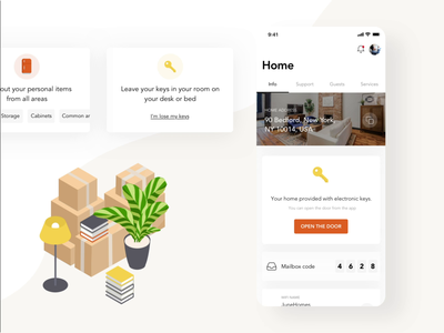 🔑 Door unlock system   Application for home   IoT plugins orange cards plant boxes loading loading animation ios adobe aftereffects moves home door key iot