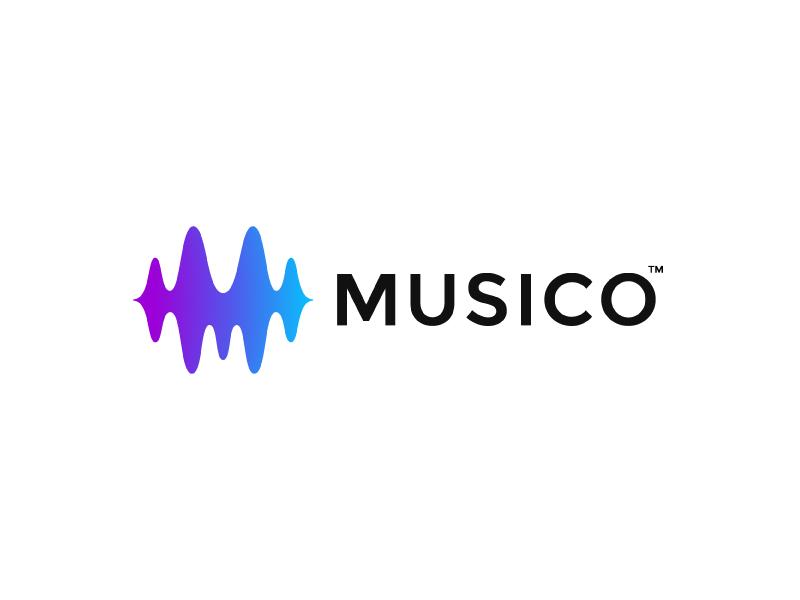Musico sound m letter mark logo bar music