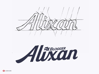 Alixan video typography mark logaze lettering blogger baku vector sketch