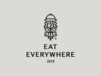 Eat Everywhere eat fork dinner tray food logo restaurant