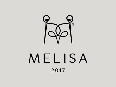 Melisa sewing m lettering mark logo house