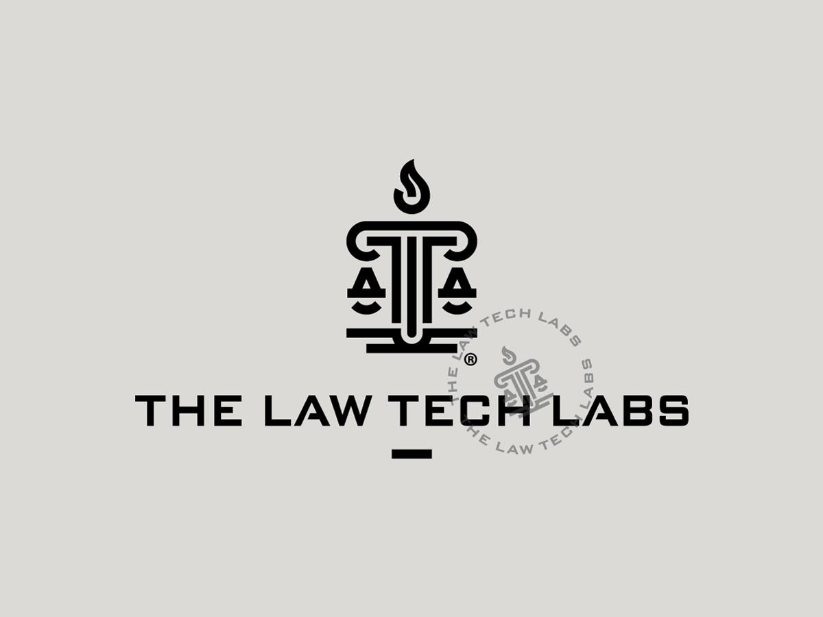 The Law Tech Labs scales logotype lab tech law logo