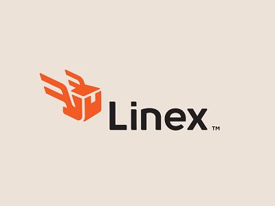 Linex logotype illustration brand logaze symbol mark logo box package delivery logistics express
