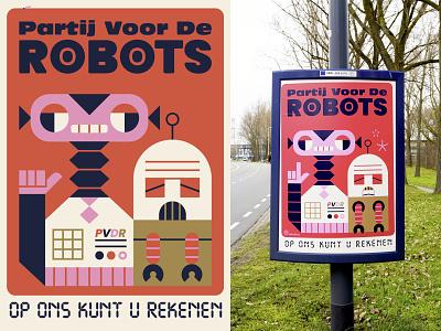 Partij voor de robots vector illustration robot character robot poster robot illustration character design loulou and tummie