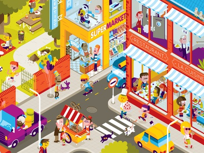 Auviq Sneakyallergen people illustration characters city life buildings loulouandtummie auviq find it illustration map illustration vector illustration