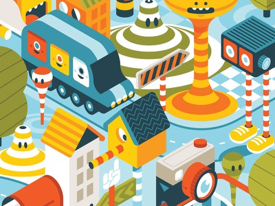 The Townsquare Is Round vector illustration colorful cute illustration character design city illustration map illustration town illustration