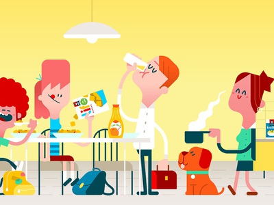 all day life scene breakfast. character design pepsico products