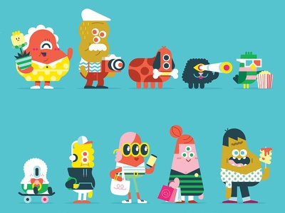 Characters loulou tummie illustration character design shopping people poster mall fun characters
