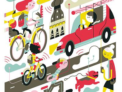 Sjees loulou tummie city characters verkeer autos fietsen illustratie