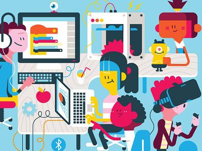 Digitalehelden character design illustration education computers loulou tummie digitale helden