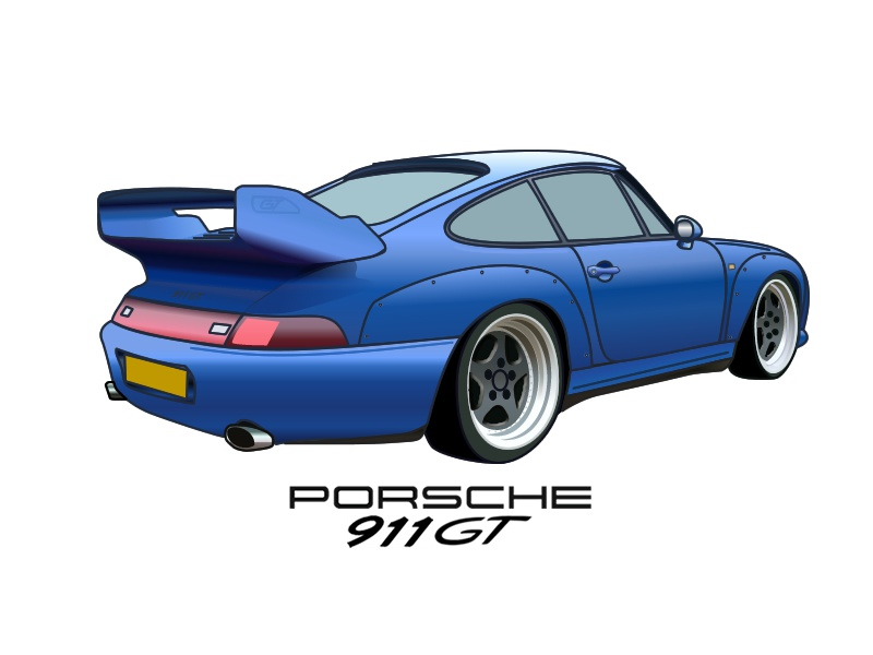 98 Porsche 911 GT vector sketch illustration car gt 911 porsche