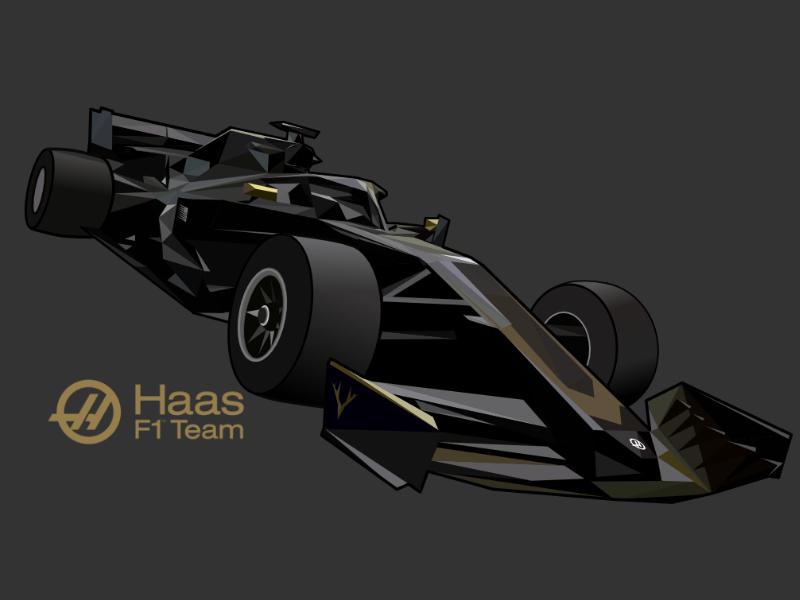 Haas F1 Team Car formula 1 haas f1 lowpoly illustration