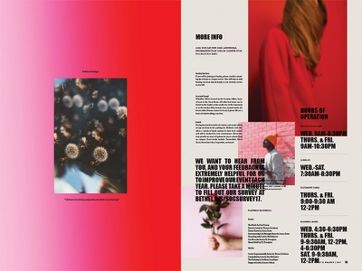 Creativity Conf. Layout blur rose red gradient spread typography layout newsprint newspaper