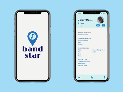 Concept for a band-forming app drums guitar music band ui design vector