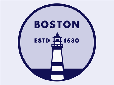 Boston Badge lighthouse boston logo design vector