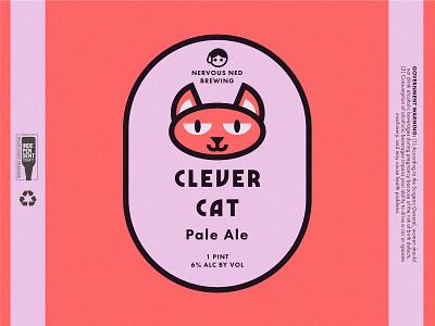"""Clever Cat Pale Ale"" Beer Can Design package design logo branding vector beer cats"
