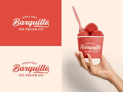 Barquillo Ice Cream Co. Packaging fresh gourmet retro red script font typography cup packaging business vintage ice cream company logo branding vector design dribbbleweeklywarmup