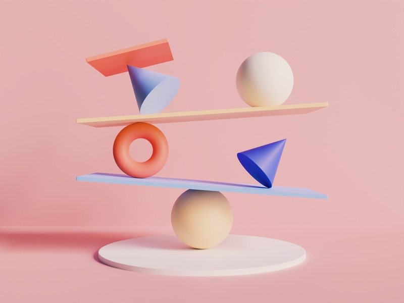 Composition I minimal balance geometric experimental aesthetic art materials vsco eevee cycles render colors shapes artwork abstract 3d blender