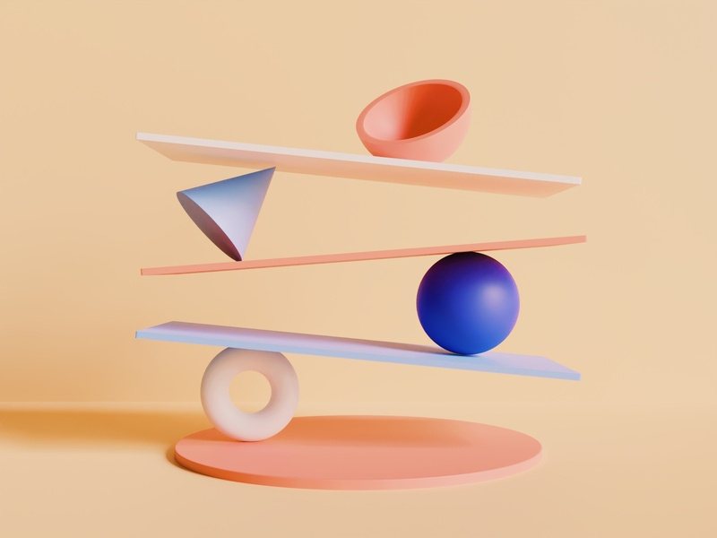 Composition II vsco shapes render minimal materials geometric experimental eevee cycles color blender balance artwork art aesthetic abstract 3d