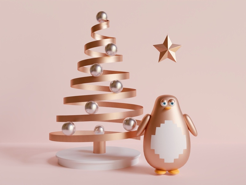 Composition III penguin tree christmas vsco shapes render minimal materials geometric experimental eevee cycles color blender artwork art aesthetic abstract 3d