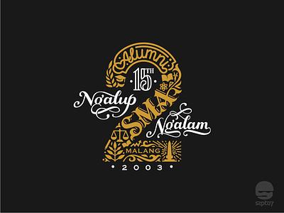 Logo for Alumni SMA 2 Malang 2003 retro vintage emblem font lettering calligraphy typography identity branding logotype logo design