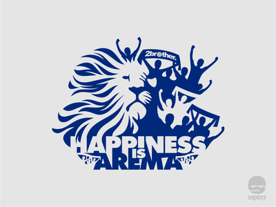 Happiness Is Arema scarf design tshirt design sport arema supporter lion soccer football negative space illustration